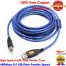 USB 2.0 - A Male to B Male Cable (5M/16.5Feet) - High-Speed with Ferrite Cores