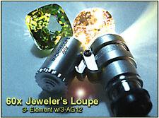 3 Element Hastings Triplet 60X Illuminated Jeweler's Loupe 2-White+1-UV LED+case