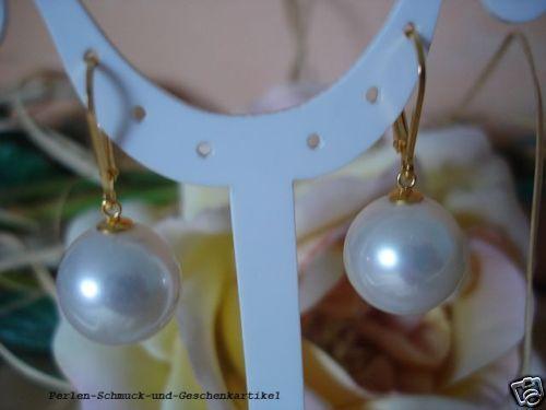 Ohrringe Südsee Muschelkernperlen 14mm Weiß 925 Silber vergoldet Brisur Geschenk