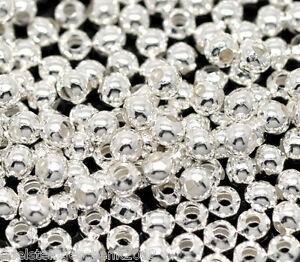 1000-Versilbert-Rund-Glatt-Spacer-Perlen-Beads-0-3cm