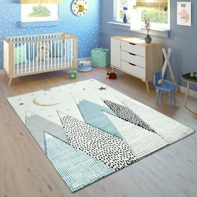 Kids Nursery Rug Blue Grey Childrens
