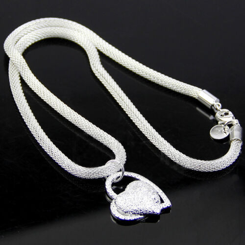 Fashion Heart-shaped Pendant Necklace Creative Crude Plated Silver