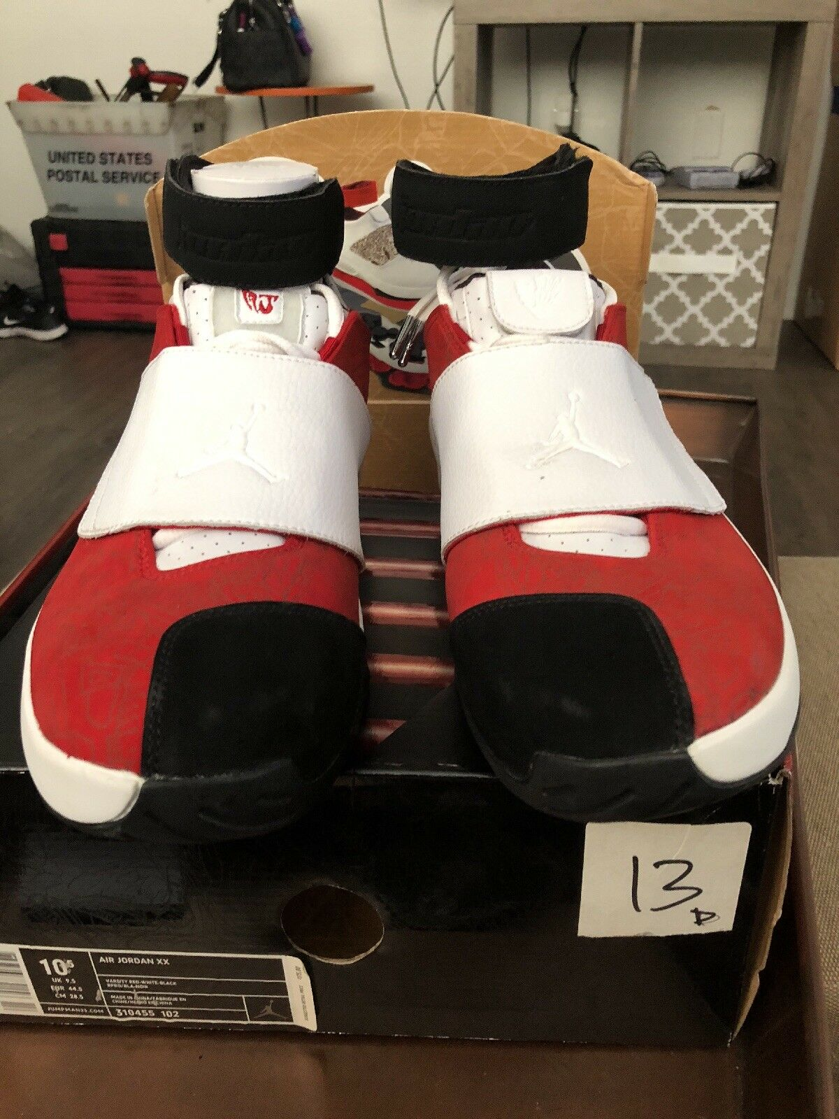 Nike Air Jordan XX 10.5 20 Size 10.5 XX WHITE VARSITY RED RETRO BLACK BIN DB 2005 B f3673b