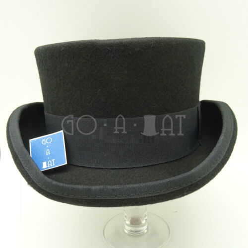 Wool Felt Topper Top Hat Men Short Tuxedo57cmBlackVINTAGE x QUALITY