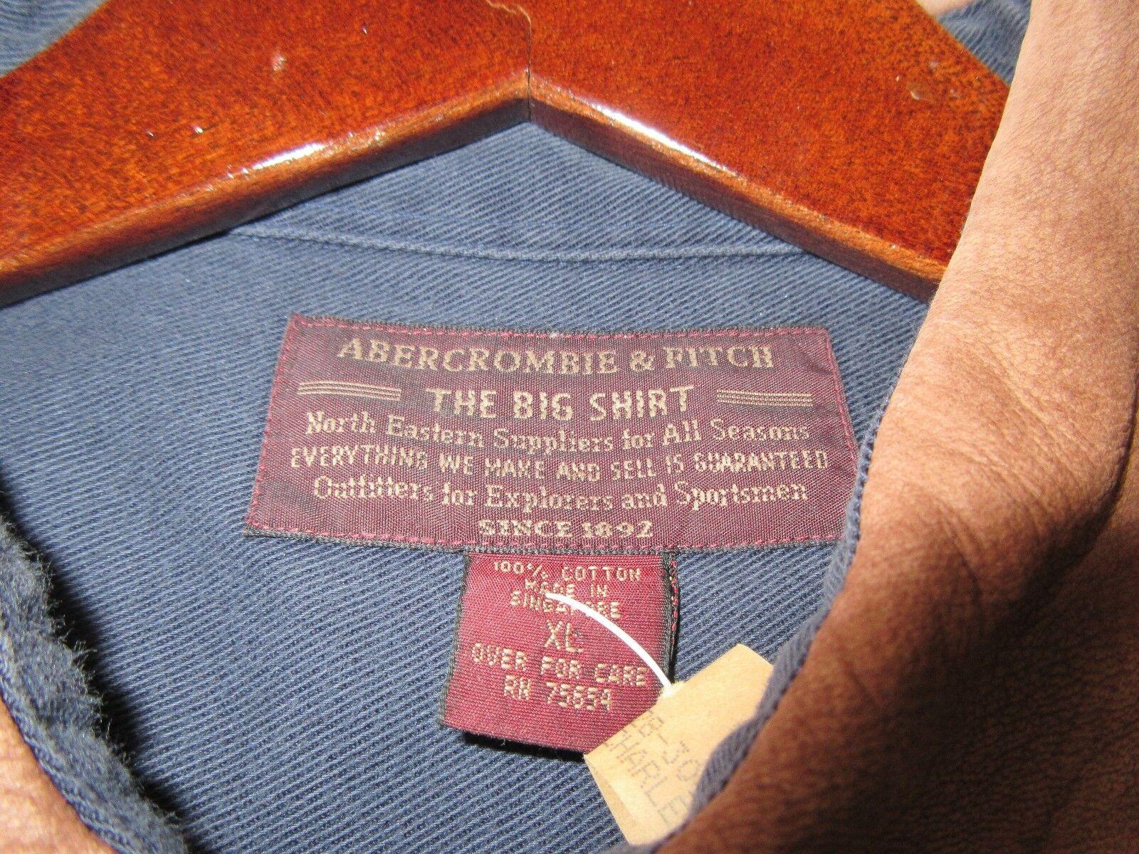 Abercrombie Big Shirts , Blue/Brown Trim, 100% Cotton ,