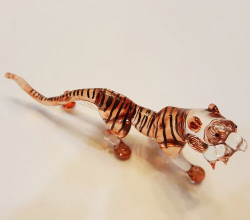 Tiger Figurine Art Hand Blown Wild Animal Glass Miniature Collectible Home Decor