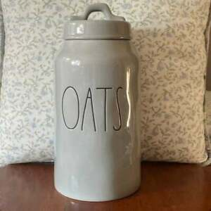 Rae Dunn Gray OATS Canister New HTF Magenta Artisan Collection