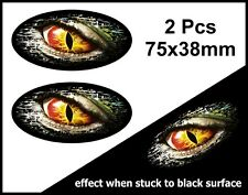 2Pcs Oval FADE TO BLACK  with Evil Eye Monster vinyl car sticker Decal 75mm