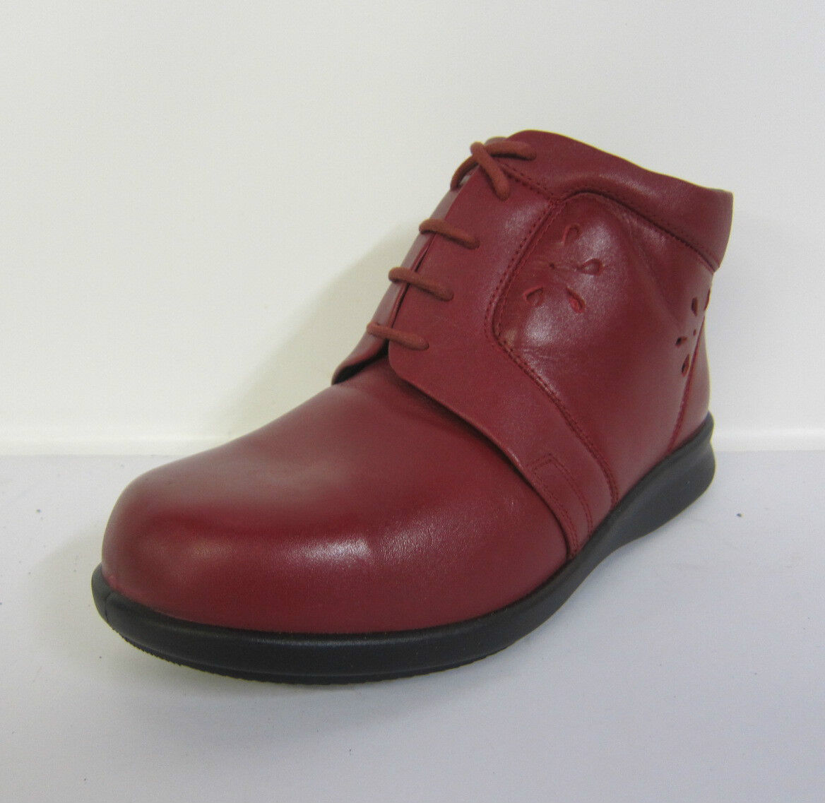 LADIES  RED LEATHER EASY FITTING B ANKLE BOOTS 73160R FITTING EASY E 433739