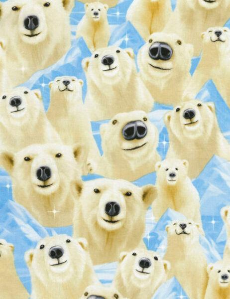 Timeless Treasures Polar Bear Poplin Quilting Fabric C2303-Aqua-M