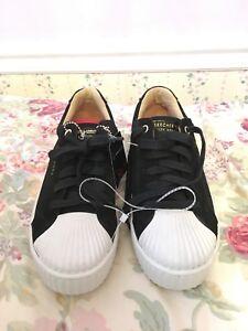 Details about Skecher Street Los Angeles Rise fit black leather women's shoes lace size 7.5