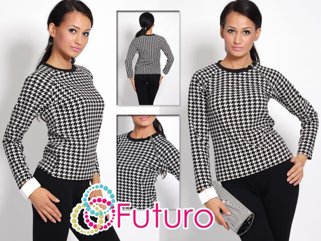 Women's Jumper with Zipper Teeth Pattern Crew Neck Sweater Sizes 8-14 FK1194