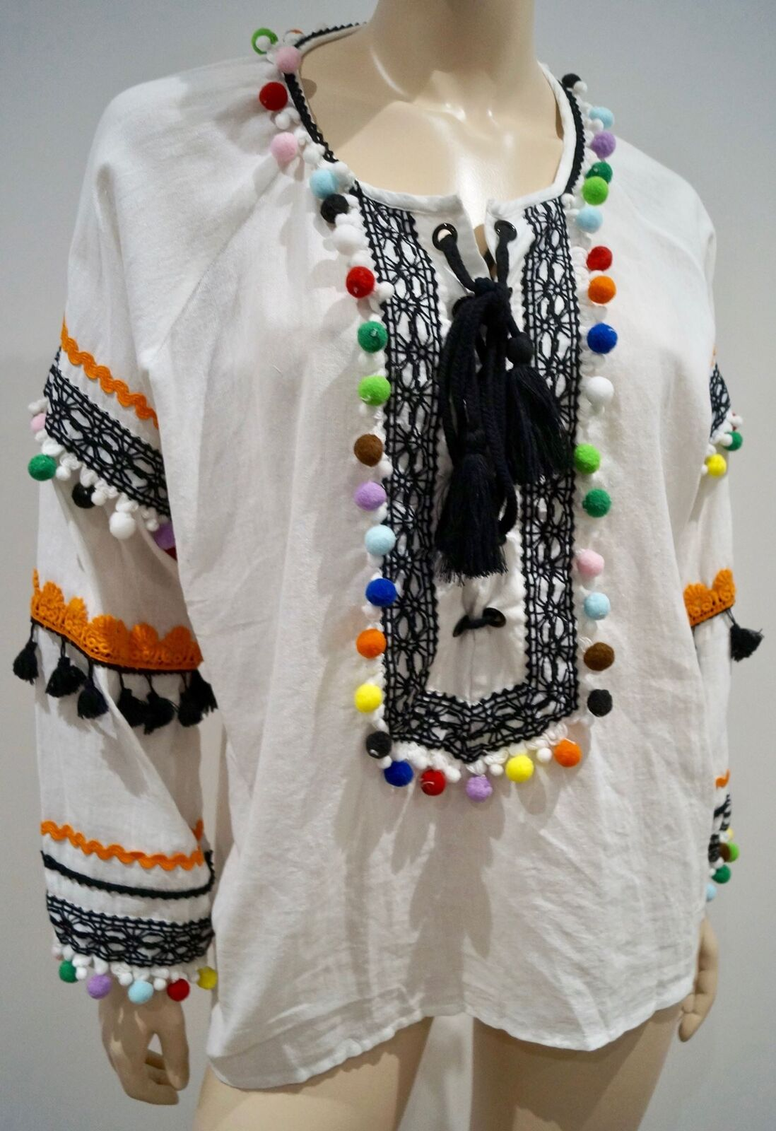 DODO BAR OR White Cotton Multi Colour Pompon & Stitch Detail Beachwear Kaftan To