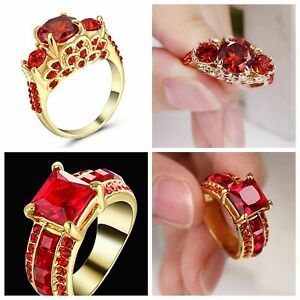 LadyWomens 14KT Yellow Gold Filled Ruby Wedding Ring Gift size 7
