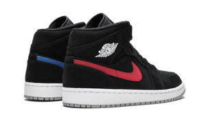 separation shoes 9dd1f 2a33a Image is loading Nike-Air-Jordan-Retro-1-Mid-BLACK-NUBUCK-