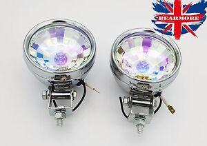 2x Motorcycle Motorbike Headlight Driving Spot Halogen Fog Light Bulb Chrome 12V