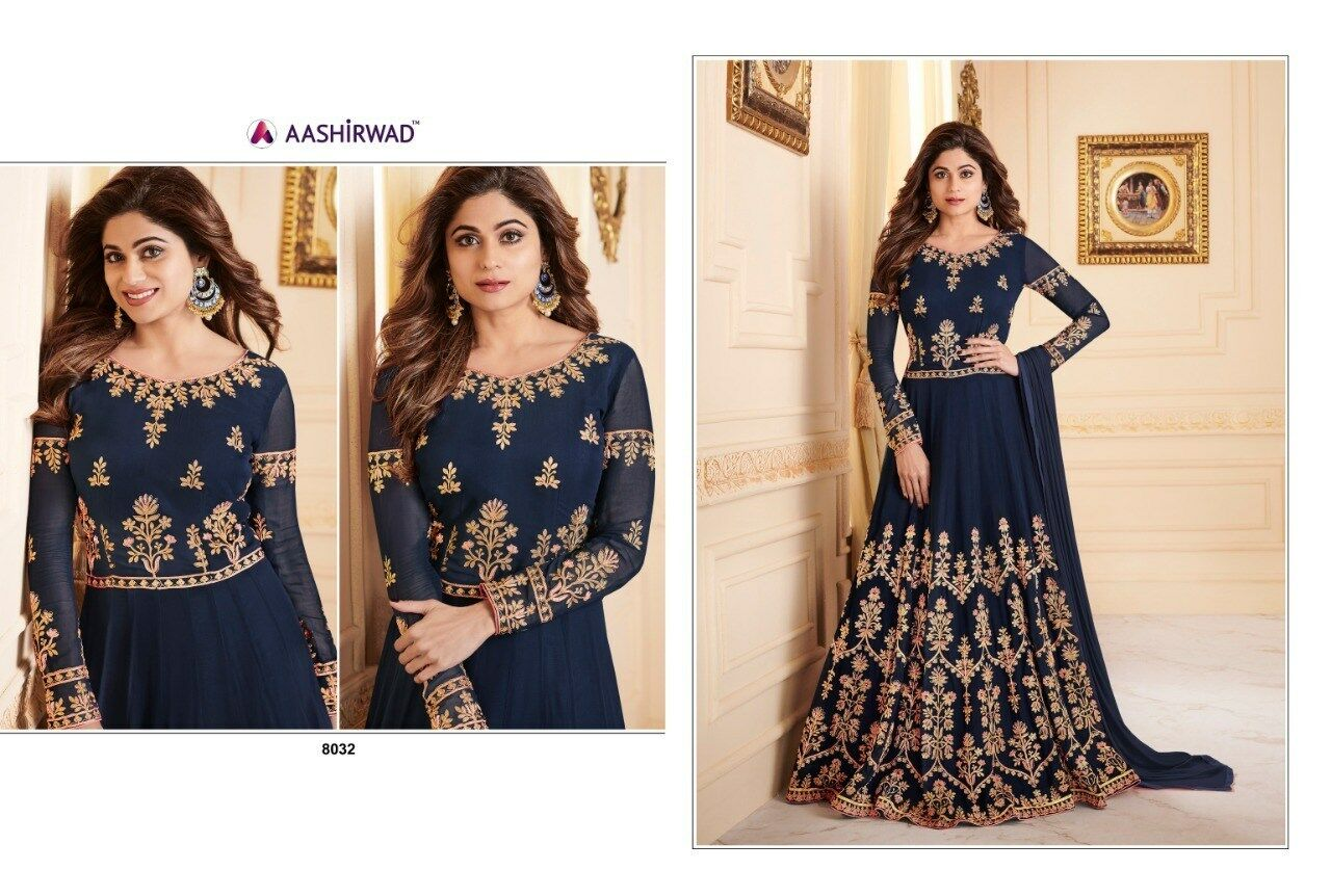 Bollywood Designer Anarkali Suits robe entièrement Cousu Sui Dhaga aashirwad 8032