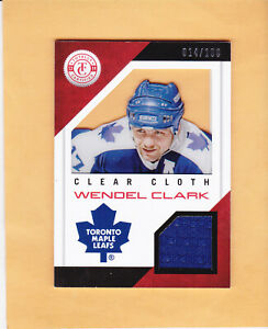 2013-14-TOTALLY-CERTIFIED-WENDEL-CLARK-CLEAR-CLOTH-SP-100-JERSEY-CL-WC-LEAFS