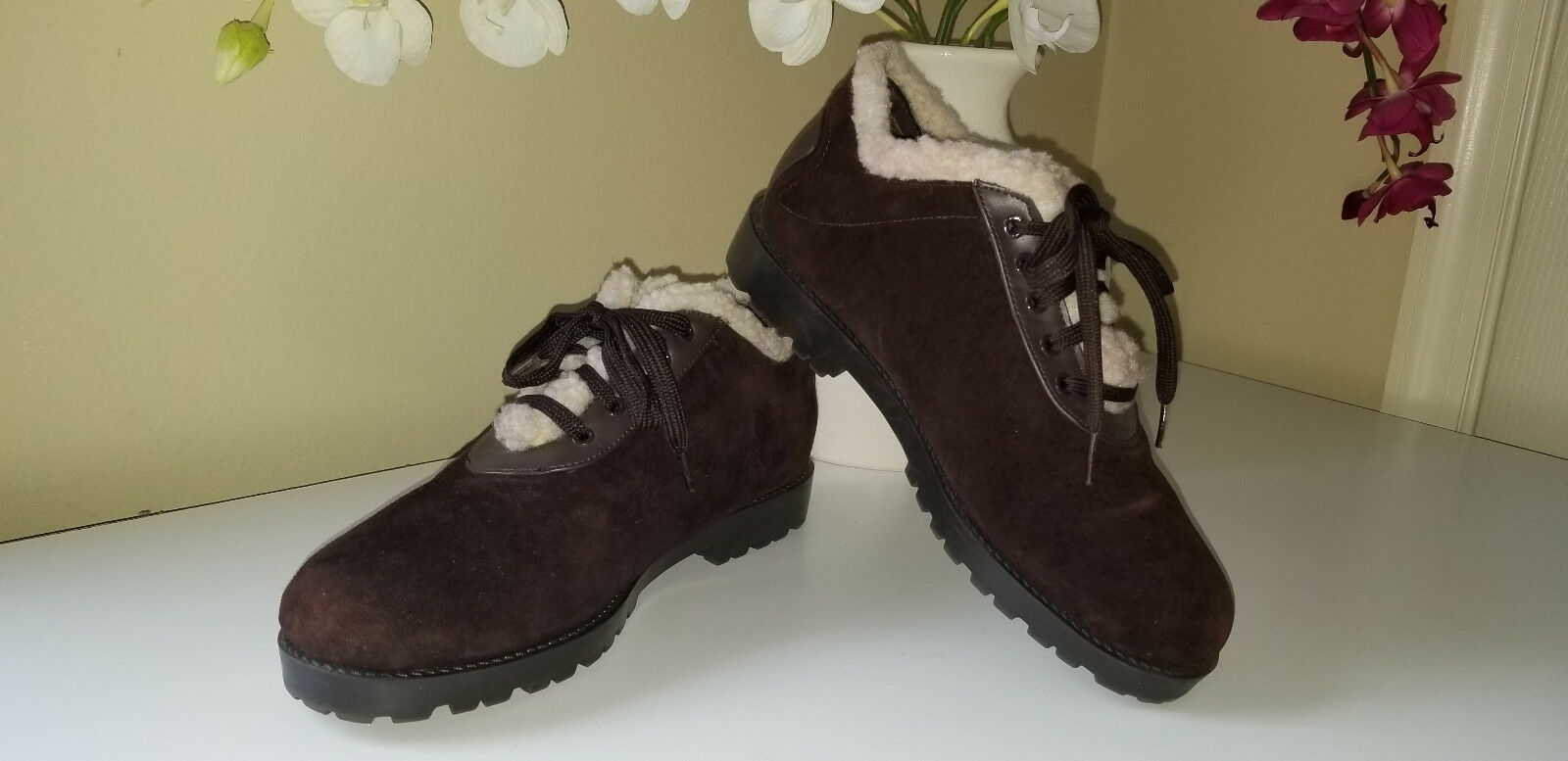 CHELSEA STUDIO Brown Suede Leather Lace Up Shearling Pile Trim Bootie shoes Sz.7M