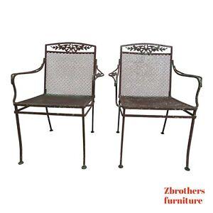 Pair-Vintage-Woodard-Daisy-Arm-Chairs-Outdoor-Patio-Porch-B