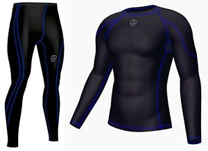 Xogo Mens Compression Armour Base Layer Top Skin Fit Compression Leggings Set Activewear Men's Clothing