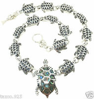 TAXCO MEXICAN STERLING SILVER ABALONE TURTLE NECKLACE MEXICO
