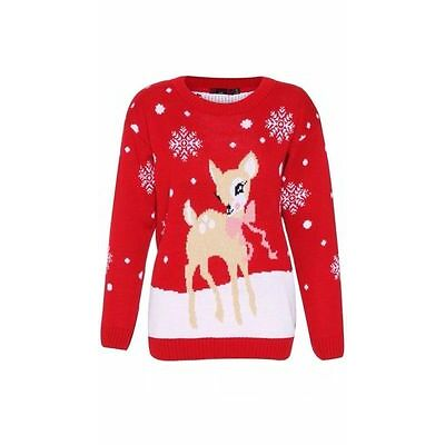 New Ladies Rudolph Bambi Bow Reindeer Novelty Xmas Sweater Jumper Women Knitted
