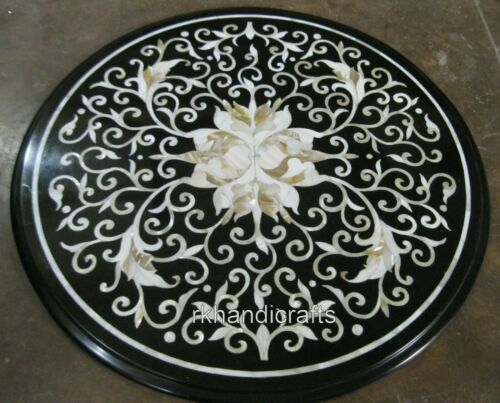 18 Inches Marble Corner Table Top Handmade Side Table with Mother of Pearl Work