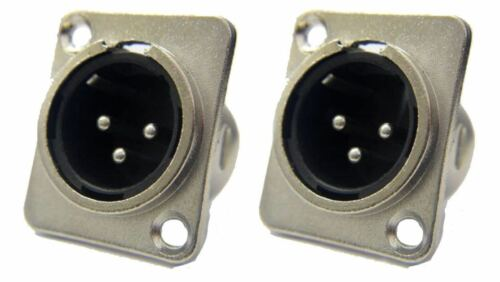ProCraft PXLRMP Panel Chassis Mount Male XLR Connector Silver Finish 2 Pack