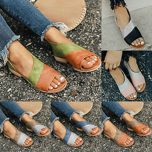 Women-Flat-Sandals-Summer-Boho-Beach-Espadrilles-Casual-Open-Toe-Slip-On-Shoes