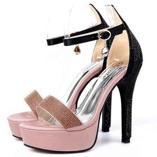 Sandale stiletto eleganti 12 cm nero rosa simil pelle simil pelle eleganti 9476