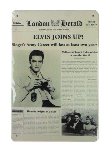 outdoor art Elvis Joins Up Newspaper tin metal sign