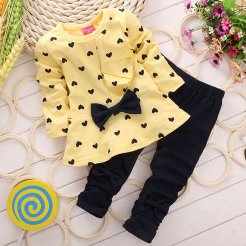 Pants Trousers Outfits Sets 2Pcs Girls Kids Love Heart Bowknot T-shirt Tops