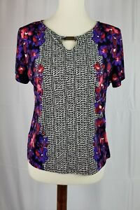 Tanjay-Petites-Womens-Petite-Small-short-sleeve-top-floral-blouse-Stretch-Sz-PS
