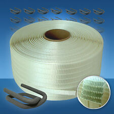 Umreifungsset gewebt, 19 mm Textil-Umreifungsband + Klemmen für Umreifungsgerät