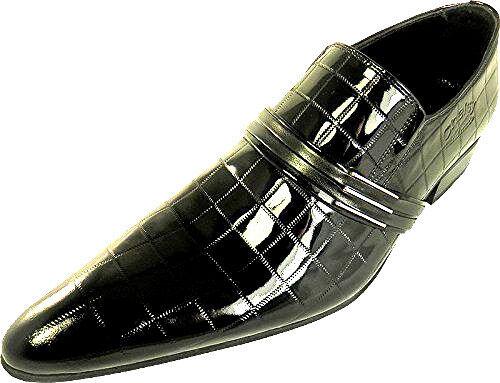 A mano chelsy cuero charol zapatos caballero negras a cuadros suela de cuero Slipper 43