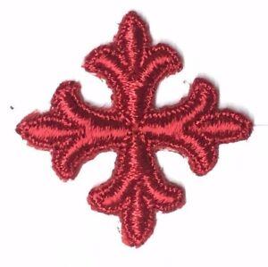 Vintage-Frances-Cruz-Bordado-1-034-para-Coser-Real-Rojo-Cruces-Parche-12-Piezas