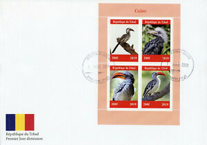 Chad-2019-FDC-Calao-buceri-Bucero-4v-M-S-COPERCHIO-birds-stamps