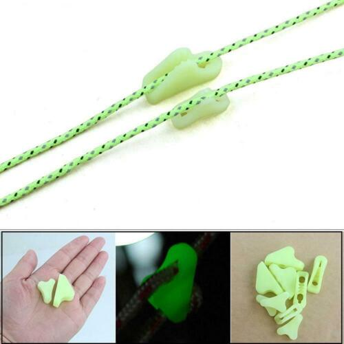 20Pcs Noctilucent Camping Tent Lock Cord Rope Fastener Tensioners Line Guy K8X9