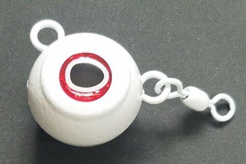 5 Fluke Ball Halibut Flounder Sinker Weight Lure 1//0 Rosco Swivel White