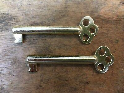 2 x fancy bow REPLACEMENT WARDROBE CUPBOARD LOCK KEYS SPARE KEY ELECTRO BRASSED