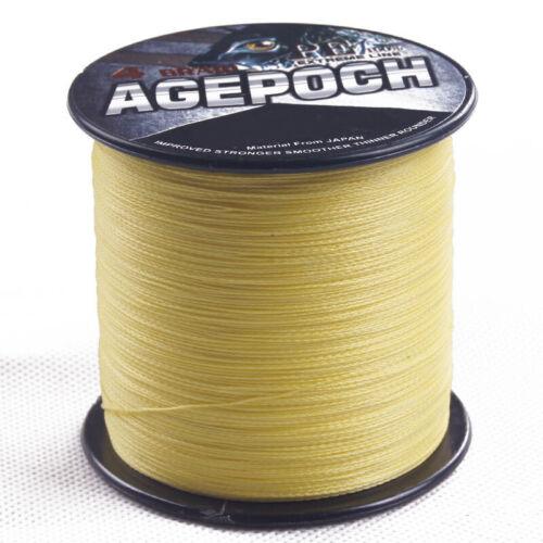 Pro 100M-2000M Yellow 10LB-30LB 100/% PE Dyneema Agepoch Braided Fishing Line