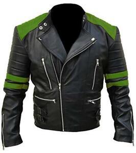 Black Retro Leather Details Original Title About Jacket Show Cafe Racer Motorcycle Vintage Biker Green Distressed tdxshrCQ