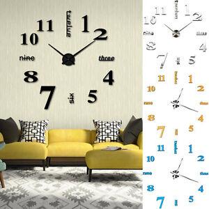 Bricolaje-3d-Grande-Numero-Espejo-Reloj-de-Pared-Pegatina-Decorativa