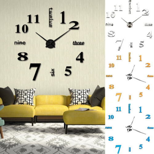 Clocks Diy 3d Large Number Mirror Wall, Large Mirror Wall Stickers Uk
