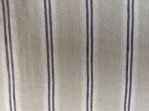 French Vintage Linen Stripe Navy Blue Grey Curtain Craft