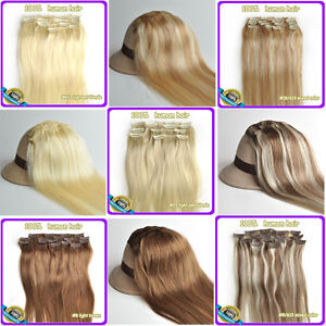 100-Clip-in-Real-Human-Hair-Extensions-16-034-18-034-20-034-22-034-6-Colors-70g-80g