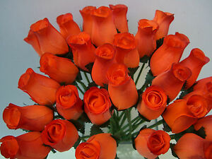 Image Is Loading 24 Burnt Orange Red Wooden Roses Whole Artificial