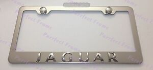 Jaguar-3D-Emblem-Stainless-Steel-License-Plate-Frame-Rust-Free-W-Boltcap