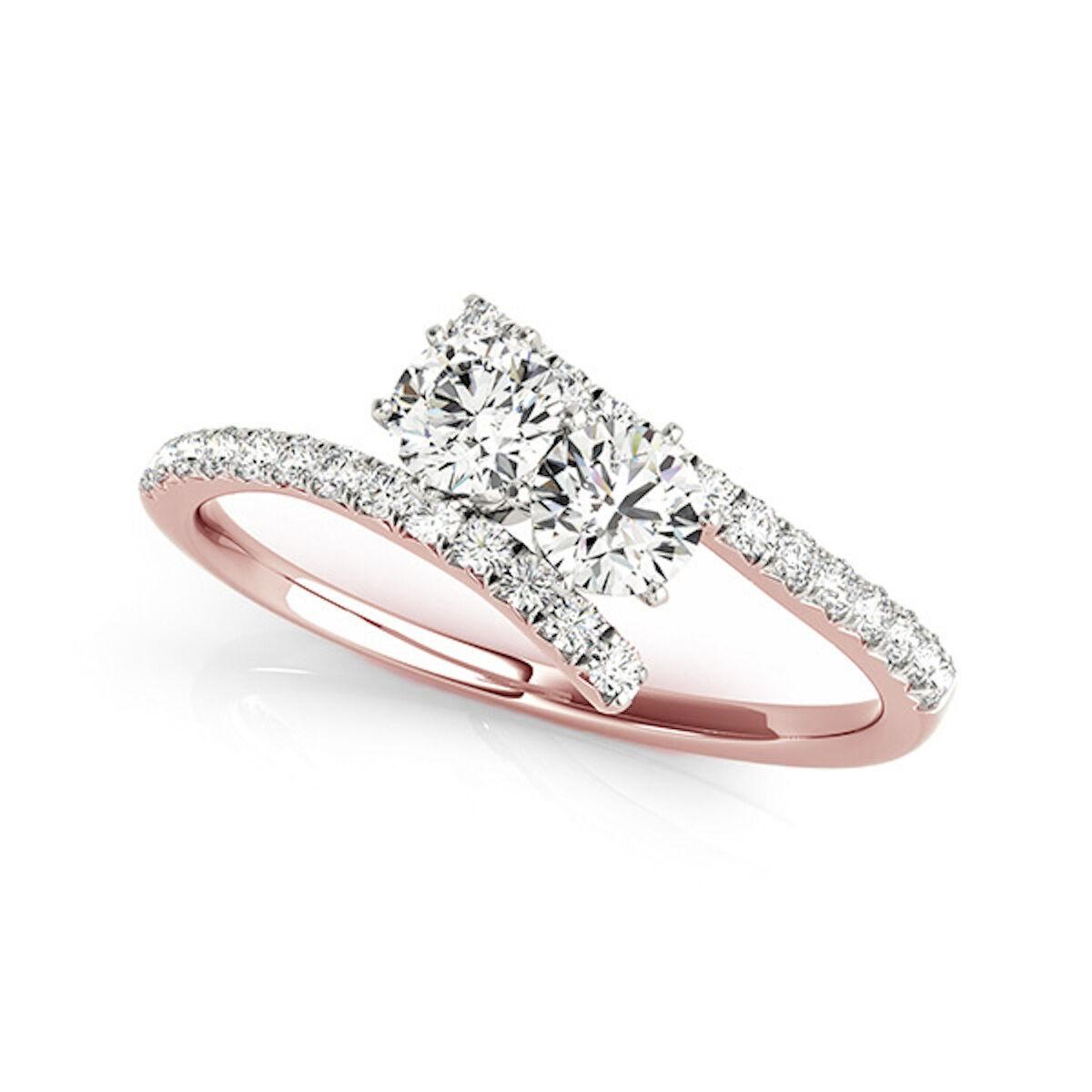 14k Yellow pink & White gold 0.75ct TDW Diamond Two Stone Ring